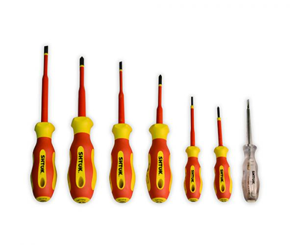 Набор диэлектрических отверток Ph 0, Ph 1, Ph 2, Sl 2.5, Sl 4.0, Sl 5.5 + тестер