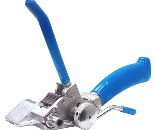 Инструмент для натяжения и резки стальной ленты с храповым механизмом  и переставной рукояткой