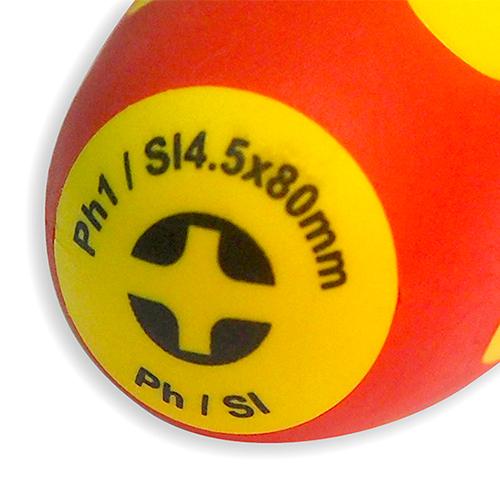 Отвертка диэлектрическая, комбинированный наконечник, Ph 1/Sl 4.5x80 мм