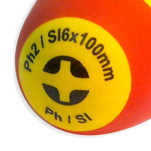 Отвертка диэлектрическая, комбинированный наконечник, Ph 2 / Sl 6.0x100 мм