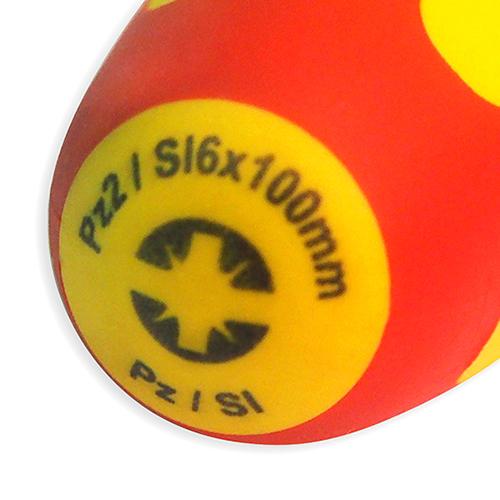 Отвертка диэлектрическая, комбинированный наконечник, Pz 2 / Sl 6.0x100 мм